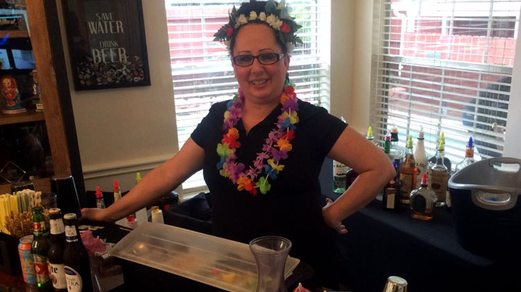 Bartender at a Hawaiian-Themed Event